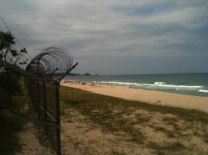 barbed wire beach