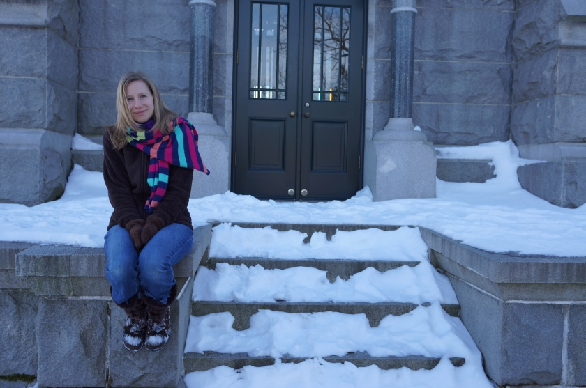 Kate at the monument to the Revolutionary War Battle of Saratoga