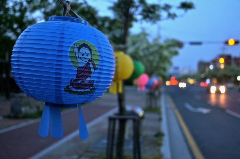 blue buddha lantern