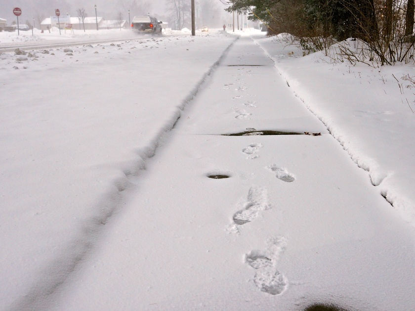 Goat tracks adorn a very rare sidewalk on U.S. 9 during a snowy walk for beer.
