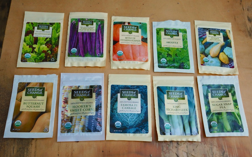 Some of the vegie seeds we have planted.