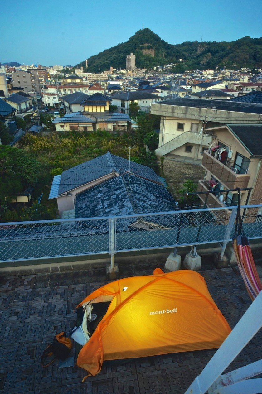 My tent on the rooftop at Sen Guesthouse, Matsuyama on my first night back. The rooms were fully booked so I got to enjoy another night in my latest little Club Mountaingoat.